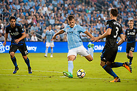 Kansas City, KS - Wednesday August 9, 2017: Diego Rubio during a Lamar Hunt U.S. Open Cup Semifinal match between Sporting Kansas City and the San Jose Earthquakes at Children's Mercy Park.