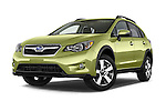 Stock pictures of low aggressive front three quarter view of a 2015 Subaru XV Crosstrek Hybrid 5 Door SUV Low Aggressive