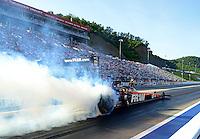 Jun. 15, 2012; Bristol, TN, USA: NHRA top fuel dragster driver Spencer Massey during qualifying for the Thunder Valley Nationals at Bristol Dragway. Mandatory Credit: Mark J. Rebilas-