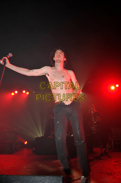 LONDON, ENGLAND - SEPTEMBER 17:  Lias Kaci Saoudi of 'Fat White Family' performing at Brixton Academy on September 17, 2016 in London, England.<br /> CAP/MAR<br /> &copy;MAR/Capital Pictures
