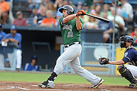 Augusta GreenJackets first baseman Joey Rapp #26 swings at a pitch during a game against the Asheville Tourists at McCormick Field on June 27, 2013 in Asheville, North Carolina. The Tourists won the game 10-6. (Tony Farlow/Four Seam Images)