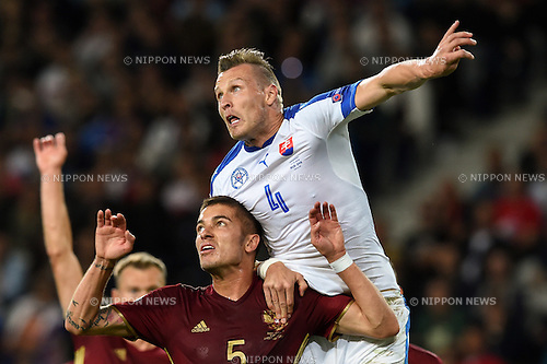 Roman Neustadter (Russia) Jan Durica (Slovakia) ; <br /> June 15, 2016 - Football : Uefa Euro France 2016, Group B, Russia 1-2 Slovakia at Stade Pierre Mauroy, Lille Metropole, France. (Photo by aicfoto/AFLO)