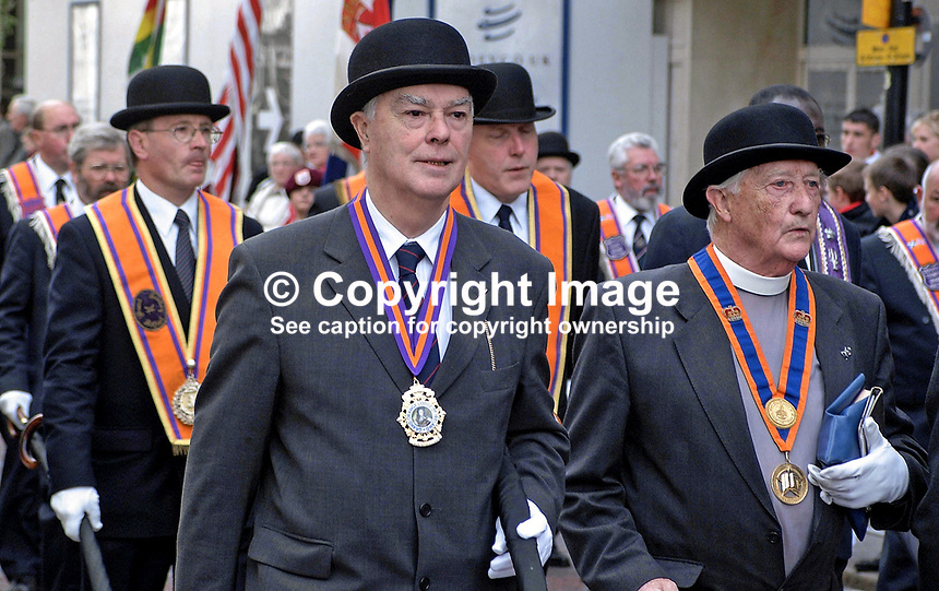 Rev Martin Smyth, Grand Master, Orange Order (centre), taking part in 2001 Twelfth of July Parade in Belfast., N Ireland, UK. Rev Smyth is also an MP at Westminster and was recently elected chairman of the Ulster Unionist Party at its AGM. Ref: 200107122696.<br />