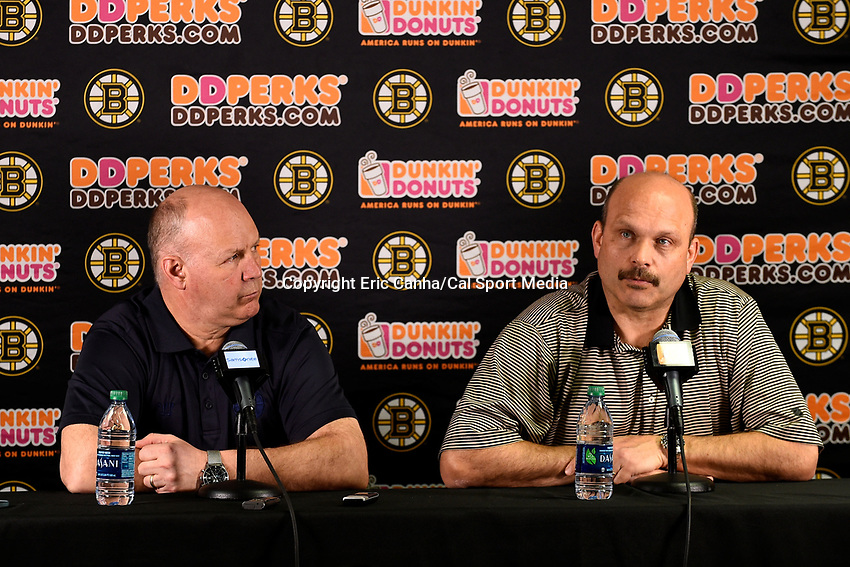 April 13, 2015 - Boston, Massachusetts, U.S. - Boston Bruins general manager Peter Chiarelli and Boston Bruins head coach Claude Julien speak to the press at the Boston Bruins final season press conference held at TD Garden in Boston Massachusetts. Eric Canha/CSM