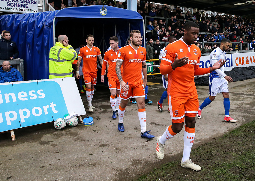 Blackpool's Donervon Daniels takes to the pitch <br /> <br /> Photographer Andrew Kearns/CameraSport<br /> <br /> The EFL Sky Bet League Two - Bristol Rovers v Blackpool - Saturday 2nd March 2019 - Memorial Stadium - Bristol<br /> <br /> World Copyright © 2019 CameraSport. All rights reserved. 43 Linden Ave. Countesthorpe. Leicester. England. LE8 5PG - Tel: +44 (0) 116 277 4147 - admin@camerasport.com - www.camerasport.com