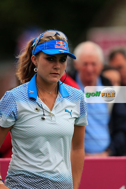 Lexi Thompson (USA) on the 1st tee to start her match during Sunday's Final Round of the LPGA 2015 Evian Championship, held at the Evian Resort Golf Club, Evian les Bains, France. 13th September 2015.<br /> Picture Eoin Clarke | Golffile