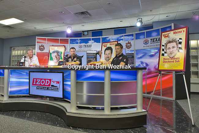 Mario Andretti, Marco Andretti (25) driver for Andretti Autosport and Michael Andretti hold a press conferance before qualifying for the IZOD Indycar Firestone 550 race at Texas Motor Speedway in Fort Worth,Texas.