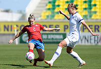 20190301 - LARNACA , CYPRUS : Finnish Jenny Danielsson pictured in a duel with Czech Aneta Dedinova during a women's soccer game between Finland and Czech Republic , on Friday 1 March 2019 at the AEK Arena in Larnaca , Cyprus . This is the second game in group A for Both teams during the Cyprus Womens Cup 2019 , a prestigious women soccer tournament as a preparation on the Uefa Women's Euro 2021 qualification duels. PHOTO SPORTPIX.BE | DAVID CATRY