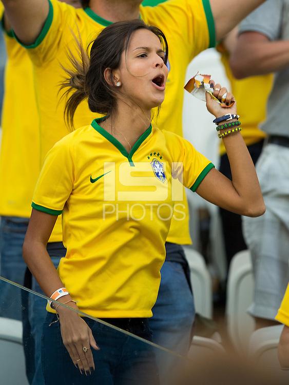 A Brazil fan jumps