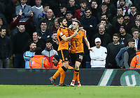 Diogo Jota of Wolverhampton Wanderers celebrates scoring Wolverhampton Wanderers first goal<br /> <br /> Photographer Leila Coker/CameraSport<br /> <br /> The EFL Sky Bet Championship - Aston Villa v Wolverhampton Wanderers - Saturday 10th March 2018 - Villa Park - Birmingham<br /> <br /> World Copyright &copy; 2018 CameraSport. All rights reserved. 43 Linden Ave. Countesthorpe. Leicester. England. LE8 5PG - Tel: +44 (0) 116 277 4147 - admin@camerasport.com - www.camerasport.com
