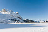 Italy, South Tyrol, Alto Adige - Trentino,  Lago Fedaia, reservoir at Fedaia pass road at the border to Veneto with foothills of Marmolada mountains | Italien, Suedtirol: der Fedaiasee, ein Stausee auf der Passhoehe des Fedaiapasses, an der Grenze zu Venetien mit Auslaeufern der Marmolada
