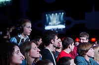 "A young boy enjoys the Matisyahu performance during his ""Festival of Light"" tour at the Electric Factory in Philadelphia, December 12, 2012."