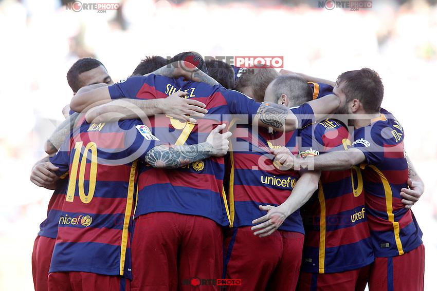 FC Barcelona's players celebrate goal during La Liga match. May 14,2016. (ALTERPHOTOS/Acero) /NortePhoto.com
