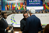 United States Secretary of State John Kerry greets Prime Minister of Ethiopia Hailemariam Desalegn Boshe at the Africa Leaders Summit at the State Department in Washington DC, August 6, 2014. Obama is promoting business relationships between the United States and African countries during the three-day U.S.-Africa Leaders Summit, where 49 heads of state are meeting in Washington.  <br /> Credit: Molly Riley / Pool via CNP