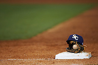 Charlotte Stone Crabs hat and glove on first during a game against the Clearwater Threshers on April 12, 2016 at Bright House Field in Clearwater, Florida.  Charlotte defeated Clearwater 2-1.  (Mike Janes/Four Seam Images)