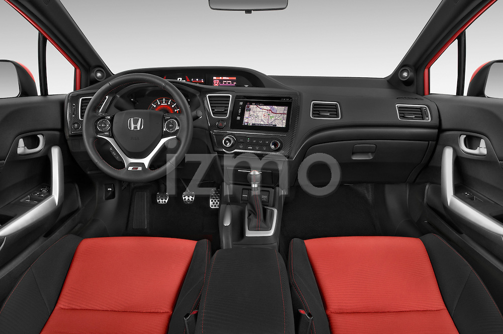 Stock photo of straight dashboard view of a 2015 Honda Civic Si Coupe SI 2 Door  Dashboard