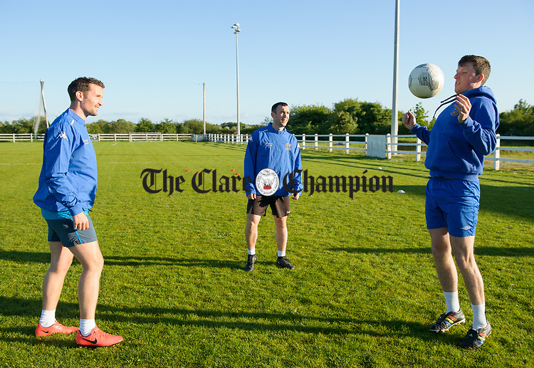 Steve Carroll, Jay Egan and darragh Corry during a training session in Frank Healy Park Doora in preparation for the Oscar Traynor final in Donegal. Photograph by John Kelly.