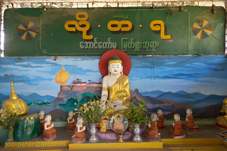 buddha shrine in temple in Mandalay