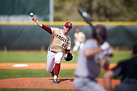 Boston College Eagles starting pitcher Jacob Stevens (44) delivers a pitch during a game against the Central Michigan Chippewas on March 3, 2017 at North Charlotte Regional Park in Port Charlotte, Florida.  Boston College defeated Central Michigan 5-4.  (Mike Janes/Four Seam Images)