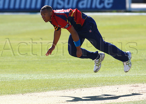 26.03.2012 Chelmsford, ENGLAND. ..Tymal Mills of Essex County Cricket in action..during pre season Friendly match between Essex Vs Middlesex at The Ford County Ground,Chelmsford, Essex.