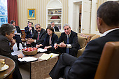 United States President Barack Obama receives an update on the explosions that occurred in Boston, in the Oval Office, April 16, 2013. Seated, from left, are: Homeland Security Secretary Janet Napolitano; Tony Blinken, Deputy National Security Advisor; Jake Sullivan, National Security Advisor to the Vice President; Attorney General Eric Holder; Lisa Monaco, Assistant to the President for Homeland Security and Counterterrorism; Chief of Staff Denis McDonough; and FBI Director Robert Mueller. .Mandatory Credit: Pete Souza - White House via CNP