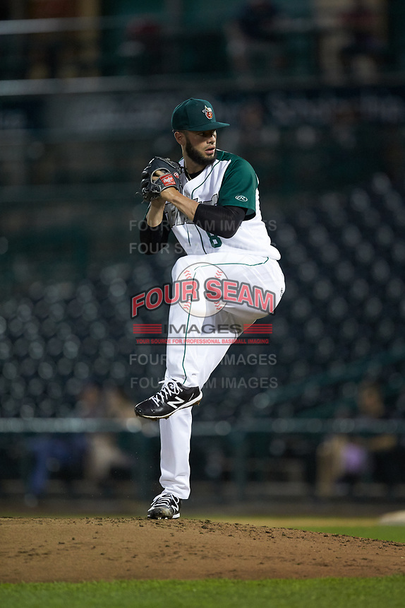 Fort Wayne TinCaps relief pitcher Dylan Coleman (8) in action against the Bowling Green Hot Rods at Parkview Field on August 20, 2019 in Fort Wayne, Indiana. The Hot Rods defeated the TinCaps 6-5. (Brian Westerholt/Four Seam Images)