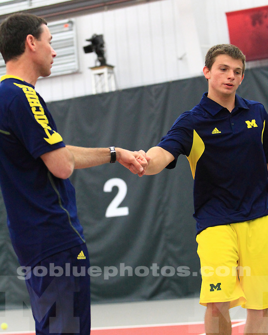 The University of Michigan men's tennis team lost to No. 4 Ohio State, 4-0, in the Big Ten Championship final at the Buckeye Varsity Tennis Center in Columbus, Ohio, on April 28, 2013.