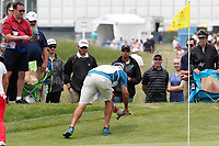 The caddie for Sei Young Kim (South Korea) removes a turtle from the third green during the final round of the ShopRite LPGA Classic presented by Acer, Seaview Bay Club, Galloway, New Jersey, USA. 6/10/18.<br /> Picture: Golffile   Brian Spurlock<br /> <br /> <br /> All photo usage must carry mandatory copyright credit (&copy; Golffile   Brian Spurlock)