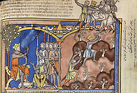 """(left) Jonathan, a Prince: Encamped outside of Gibeah, Saul rests beneath a pomegranate tree and advises his warriors. Meanwhile, without informing his father, Saul's son Jonathan bravely scales a mountain to attack a Philistine garrison. Accompanied only by his armour-bearer, Jonathan engages the enemy; together they kill twenty men. (1 Samuel 14:1ñ14); (right) The Battle is Joined: Sounds of battle have been heard in the Philistine camp, so Saul has assembled his army. It is discovered that Jonathan and his armour-bearer are missing. As the priest Ahijah bears the Ark of the Covenant into battle, Saul issues a bold command: the army is not to partake of food until all of the Philistines are destroyed. Jonathan, riding ahead, does not hear his father's instruction. Cradling his great helm in his left hand, he leans from his horse and spears a honeycomb to eat. (1 Samuel 14:17ñ27). Excerpt of the first edition of the """"Crusader Bible"""", 13th century manuscript kept in the Pierpont Morgan Library in New York, on natural parchment made of animal skin published by Scriptorium SL in Valencia, Spain. © Scriptorium / Manuel Cohen"""