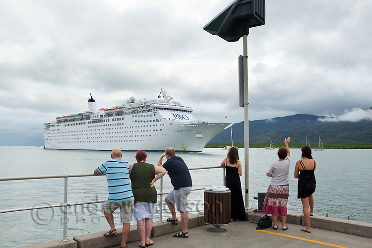 Cruise liner entering Trinity Inlet.  Cairns, Queensland, Australia