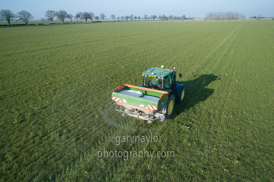 Spreading urea onto grassland - Lincolnshire, February