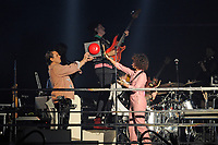 LONDON, ENGLAND - APRIL 12: Will Butler, Win Butler and R&eacute;gine Chassagne of 'Arcade Fire' performing at SSE Arena on April 12, 2018 in London, England.<br /> CAP/MAR<br /> &copy;MAR/Capital Pictures