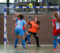 20190915– HALLE , BELGIUM : FP Halle-Gooik Girls B goal keeper Maria-Clara Nesim is pictured during the Belgian Women's Futsal D1 match between FP Halle-Gooik A and FP Halle-Gooik B on Sunday 15th 2019 at the De Bres Sport Complex in Halle, Belgium. PHOTO SPORTPIX.BE | Sevil Oktem