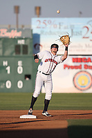 Garrett Hampson (3) of the Lancaster JetHawks reaches for a high throw during a game against the Stockton Ports at The Hanger on May 12, 2017 in Lancaster, California. Lancaster defeated Stockton, 7-2. (Larry Goren/Four Seam Images)