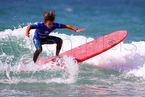 14.08.2016. Newquay, England. Board Masters Surfing Competition Sunday.  Edouard  Delpero FRA wins the Boardmasters Longboard Championship ahead of Emilien Fleury FRA
