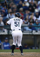 04 October 2009: Seattle Mariners right fielder #51 Ichiro Suzuki sets up in the batters box against the Texas Rangers. Seattle won 4-3 over the Texas Rangers at Safeco Field in Seattle, Washington.