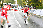 Mikkel Bjerg and Johan Price-Pejtersen of Denmark after finishing the Men's Under 23 Individual Time Trial of the UCI World Championships 2019 running 30.3km from Ripon to Harrogate, England. 24th September 2019.<br /> Picture: Simon Wilkinson/SWPix.com | Cyclefile<br /> <br /> All photos usage must carry mandatory copyright credit (© Cyclefile | Simon Wilkinson/SWPix.com)