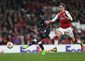 2nd November 2017, Emirates Stadium, London, England; UEFA Europa League group stage, Arsenal versus Red Star Belgrade; Richmond Boakye of Red Star Belgrade taking a shot for an attempted for goal passed Rob Holding of Arsenal during the 1st half