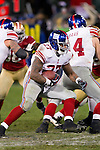 New York Giants running back Brandon Jacobs (27) carries the ball during an NFC Championship NFL football game against the San Francisco 49ers on January 22, 2012 in San Francisco, California. The Giants won 20-17 in overtime. (AP Photo/David Stluka)