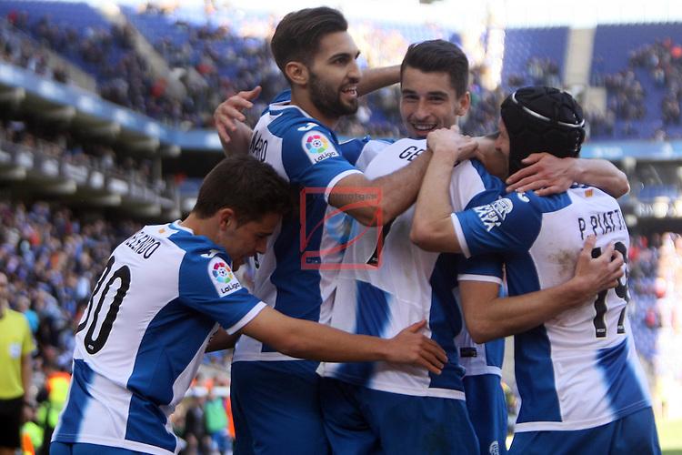 League Santander 2016/2017. Game: 24.<br /> RCD Espanyol vs CA Osasuna: 3-0.<br /> Gerard Moreno, Marc Navarro, Pablo Piatti, Marc Roca &amp; Oscar Melendo.