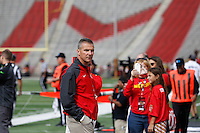 Ohio State Buckeyes head coach Urban Meyer surveys the sideline prior to the NCAA football game against the Maryland Terrapins at Byrd Stadium in College Park, Maryland on Oct. 4, 2014. (Adam Cairns / The Columbus Dispatch)