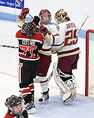 Kendall Coyne (Northeastern - 77), Dru Burns (BC - 7), Corinne Boyles (BC - 29) - The Northeastern University Huskies defeated the Boston College Eagles in a shootout on Monday, January 31, 2012, in the opening round of the 2012 Women's Beanpot at Walter Brown Arena in Boston, Massachusetts. The game is considered a 1-1 tie for NCAA purposes.