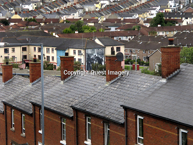 Scenes from The Bogside, a neighborhood outside the city walls of Derry, Northern Ireland.  The area has been a focus point for many of the events of &quot;The Troubles&quot;, from the Battle of the Bogside and Bloody Sunday in the 1960s and 1970s.<br /> <br /> The Troubles was a period of ethno-political conflict in Northern Ireland which spilled over at various times into England, the Republic of Ireland, and mainland Europe. The duration of the Troubles is conventionally dated from the late 1960s and considered by many to have ended with the Belfast &quot;Good Friday&quot; Agreement of 1998.<br /> <br /> Derry or Londonderry is the second-biggest city in Northern Ireland.  The old walled city lies on the west bank of the River Foyle, which is spanned by two road bridges and one footbridge. Photo by Deirdre Hamill/Quest Imagery