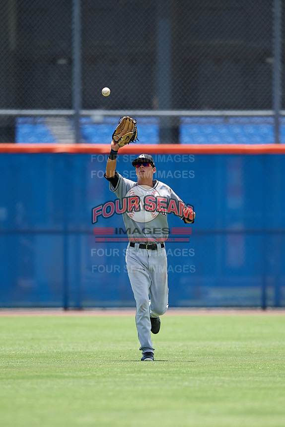 GCL Marlins center fielder Connor Scott (24) settles under a fly ball during a game against the GCL Mets on August 3, 2018 at St. Lucie Sports Complex in Port St. Lucie, Florida.  GCL Mets defeated GCL Marlins 3-2.  (Mike Janes/Four Seam Images)