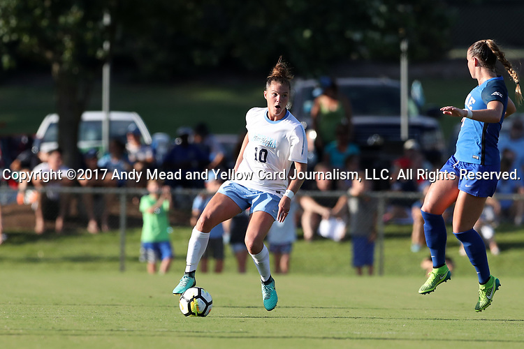 CARY, NC - AUGUST 18: North Carolina's Joanna Boyles. The University of North Carolina Tar Heels hosted the Duke University Blue Devils on August 18, 2017, at Koka Booth Stadium in Cary, NC in a Division I college soccer game.