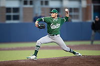 Eastern Michigan Eagles pitcher Caleb Hester (31) delivers a pitch to the plate during the NCAA baseball game against the Michigan Wolverines on May 8, 2019 at Ray Fisher Stadium in Ann Arbor, Michigan. Michigan defeated Eastern Michigan 10-1. (Andrew Woolley/Four Seam Images)
