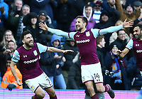 Conor Hourihane of Aston Villa celebrates scoring Aston Villa's second goal <br /> Photographer Leila Coker/CameraSport<br /> <br /> The EFL Sky Bet Championship - Aston Villa v Birmingham City - Sunday 11th February 2018 - Villa Park - Birmingham<br /> <br /> World Copyright &copy; 2018 CameraSport. All rights reserved. 43 Linden Ave. Countesthorpe. Leicester. England. LE8 5PG - Tel: +44 (0) 116 277 4147 - admin@camerasport.com - www.camerasport.com