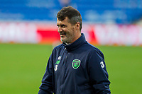 Team coach Roy Keane appears to smile during Republic of Ireland training ahead of the World Cup Qualification match against Wales at Cardiff City Stadium, Cardiff, Wales on 8 October 2017. Photo by Mark  Hawkins.