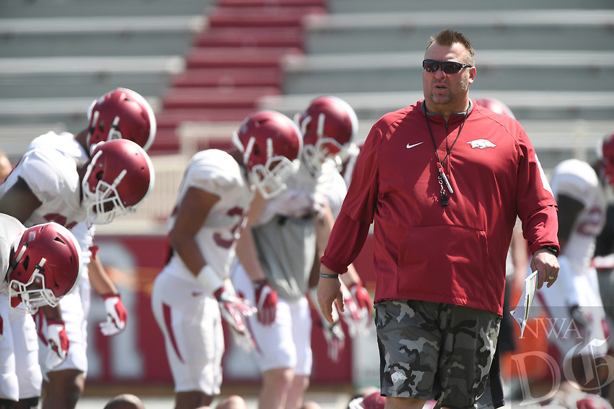 NWA Democrat-Gazette/J.T. WAMPLER Arkansas head coach Bret Bielema at practice Saturday April 15, 2017.