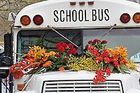 Schoolbus decorated with flowers, Amsterdam, Holland, Netherlands